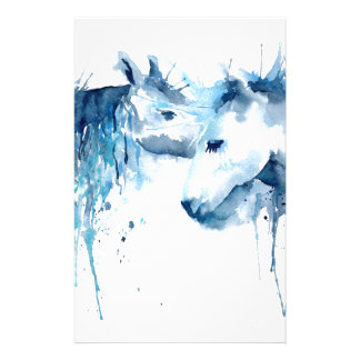 Watercolor horse kiss, horse love stationery