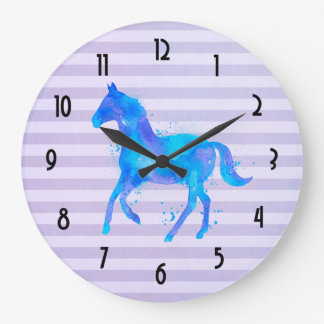 Watercolor Horse on Horizontal Stripes Large Clock