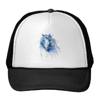 Watercolor horse Portrait with paint splatter Cap