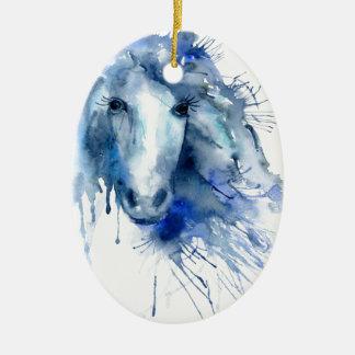Watercolor horse Portrait with paint splatter Ceramic Oval Decoration