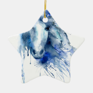 Watercolor horse Portrait with paint splatter Christmas Ornament