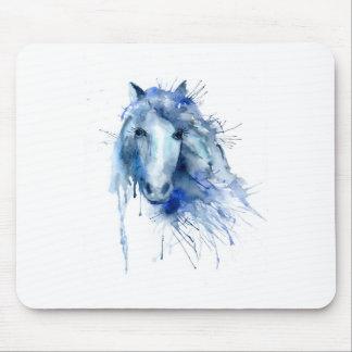 Watercolor horse Portrait with paint splatter Mouse Pad
