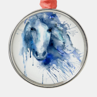 Watercolor horse Portrait with paint splatter Silver-Colored Round Decoration