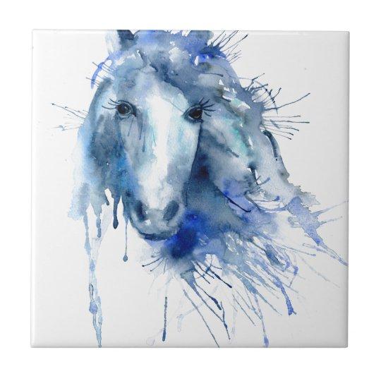 Watercolor horse Portrait with paint splatter Small Square Tile