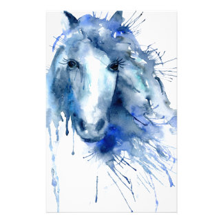 Watercolor horse Portrait with paint splatter Stationery