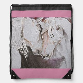 Watercolor Horses Backpack Pink/Peach