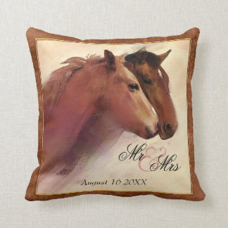Watercolor Horses Wedding Pillow