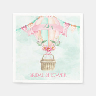 Watercolor Hot Air Balloon Mint Pink Peach Disposable Napkin