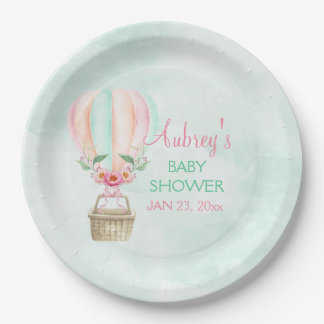 Watercolor Hot Air Balloon Mint Pink Peach Paper Plate