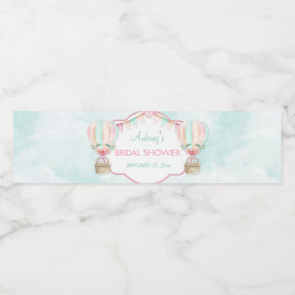 Watercolor Hot Air Balloon Mint Pink Peach Water Bottle Label