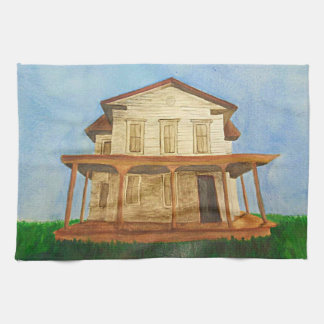 Watercolor House Tea Towel