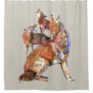 Watercolor Howling Coyotes Animal Art Shower Curtain