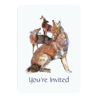Watercolor Howling good Coyote Birthday Party Card