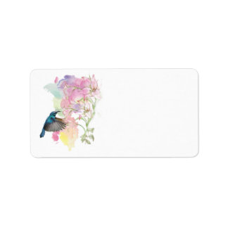 Watercolor Hummingbird and Lillies,address labels