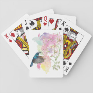 Watercolor Hummingbird and Lillies Playing Cards