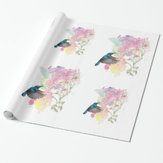 Watercolor Hummingbird and Lillies Wrapping Paper