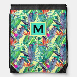 Watercolor Hummingbirds | Add Your Initial Drawstring Bag