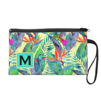 Watercolor Hummingbirds | Add Your Initial Wristlet Purse