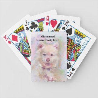 Watercolor Husky Dog Bicycle Playing Cards