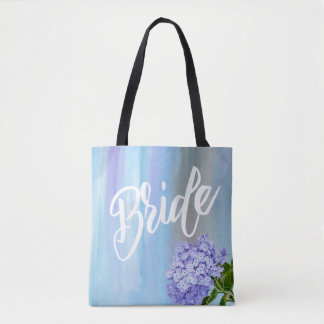 Watercolor Hydrangea Bride with Name Floral Tote Bag