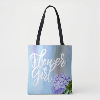 Watercolor Hydrangea Flower Girl with Name Floral Tote Bag