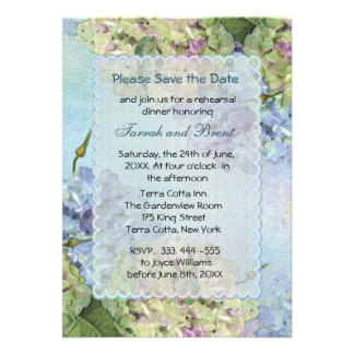 Watercolor Hydrangea Rehearsal Dinner Invitation Invitation