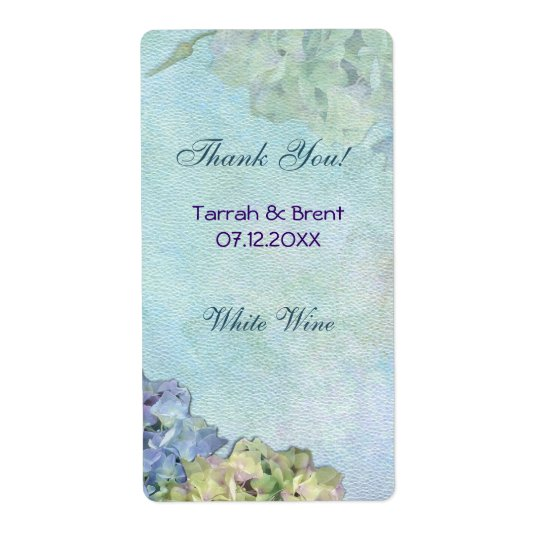 Watercolor Hydrangea - Wine Label  Medium
