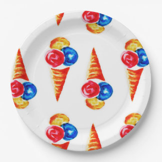 Watercolor ice cream-cone paper plate
