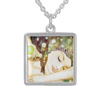 watercolor illustration square pendant necklace