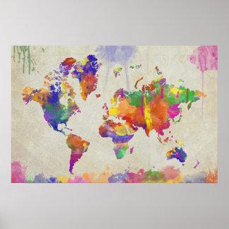 Watercolor Impression World Map Print