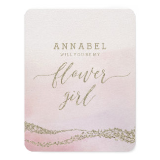 Watercolor in Blush  Will You Be My Flower Girl Card
