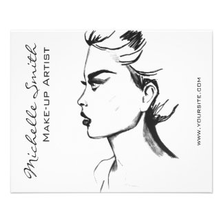 Watercolor ink black and white woman makeup 11.5 cm x 14 cm flyer