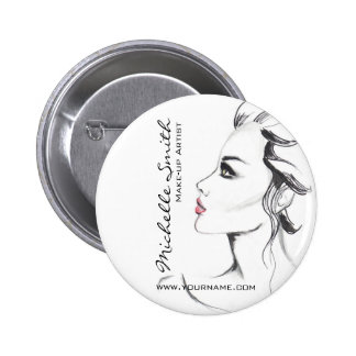 Watercolor ink black and white woman makeup 6 cm round badge