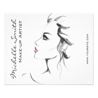 Watercolor ink black and white woman makeup flyer