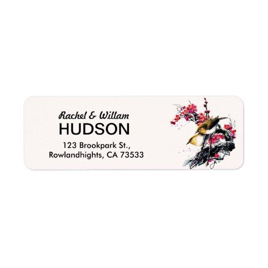 Watercolor & Ink Love Birds Floral Wedding Address Return Address Label