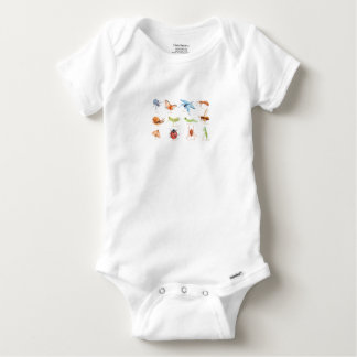 Watercolor insect illustration baby onesie