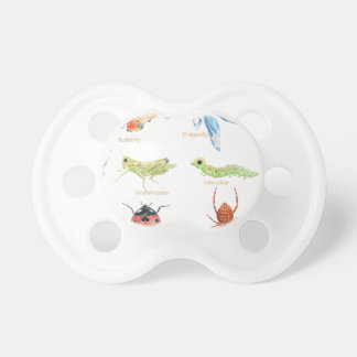 Watercolor insect illustration baby pacifiers