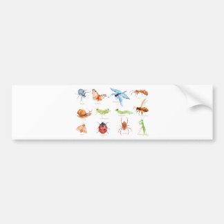 Watercolor insect illustration bumper sticker