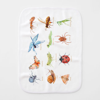 Watercolor insect illustration burp cloths