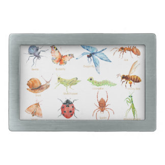 Watercolor insect illustration rectangular belt buckles