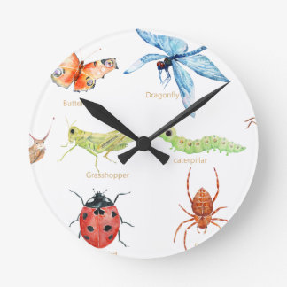 Watercolor insect illustration round clock