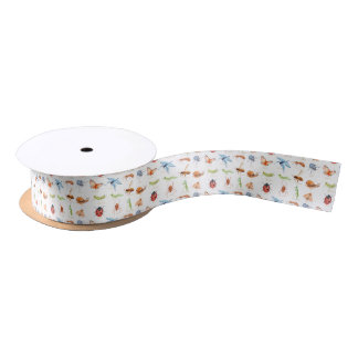Watercolor insect illustration satin ribbon