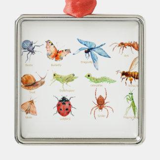 Watercolor insect illustration Silver-Colored square decoration