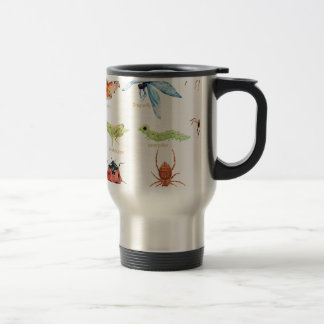 Watercolor insect illustration travel mug