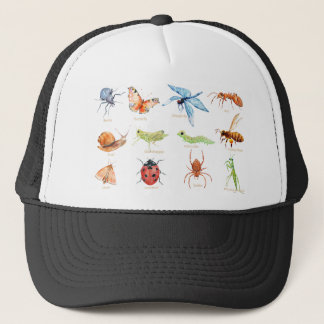 Watercolor insect illustration trucker hat