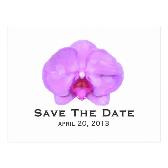 Watercolor Inspired Orchid Save The Date Postcard