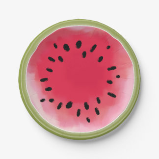 Watercolor Inspired Watermelon Paper Plates 7 Inch Paper Plate