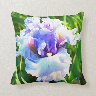 Watercolor Iris in Blue and Lavender Cushion
