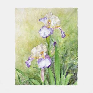 Watercolor Irises Fleece Blanket