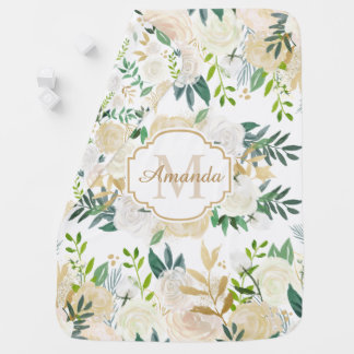 Watercolor Ivory White Gold Floral Monogram Name Baby Blanket